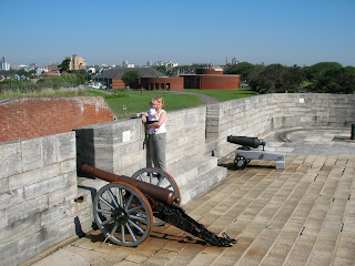 cannons on roof of king henry 8ths castle southsea