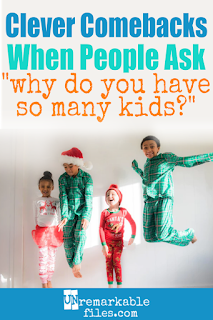 As the mom of 6, I hate it when people ask why I have so many kids! Since it's none of their business why I love my big family, I'm often tempted to reply with any one of the funny comebacks in this hilarious video. It would serve them right! #largefamily #funnyvideo