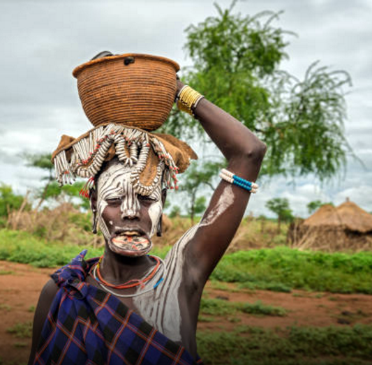 Woman from the african tribe Mursi