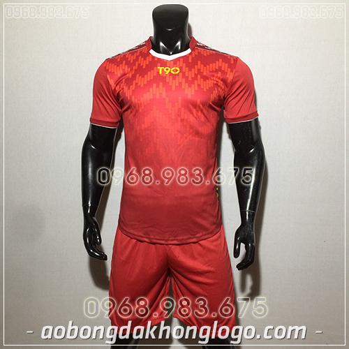 Áo bóng đá ko logo T90 Cli màu đỏ