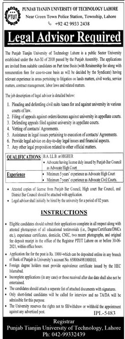 Punjab Tianjin University of Technology Lahore Jobs 2021 in Pakistan - Latest Jobs in PTUT 2021