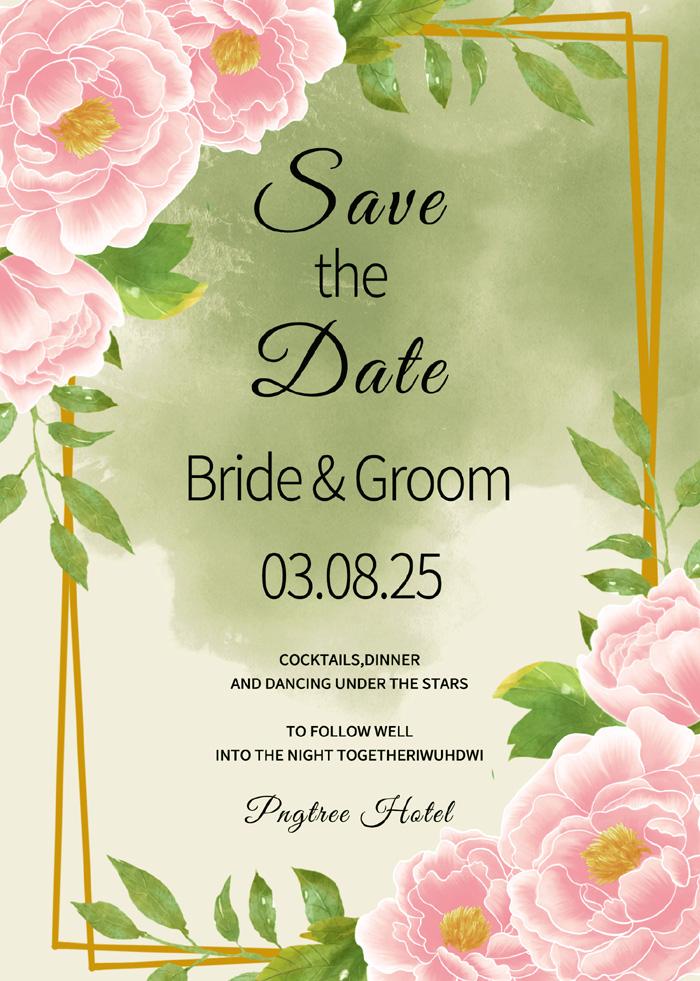Fashion Creative Line Frame Watercolor Peony Flower Wedding Invitation