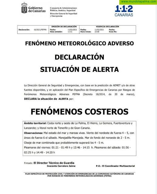 Aviso amarillo por fenómenos costeros desde esta noche en La Palma