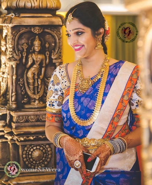 Pretty Bride in Kasulaperu Laxmi Mango Necklace
