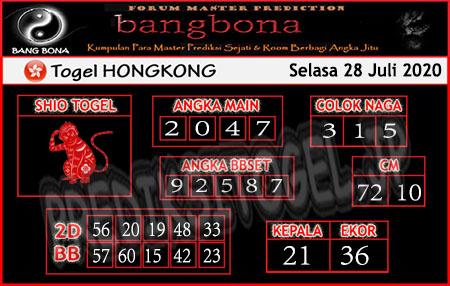 Prediksi Bangbona HK Selasa 28 Juli 2020