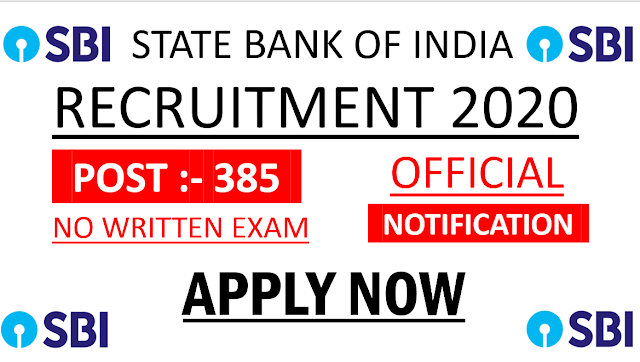 SBI Recruitment 2020 – Apply Online for 3850 Circle Based Officer Vacancy  SBI Careers With Us