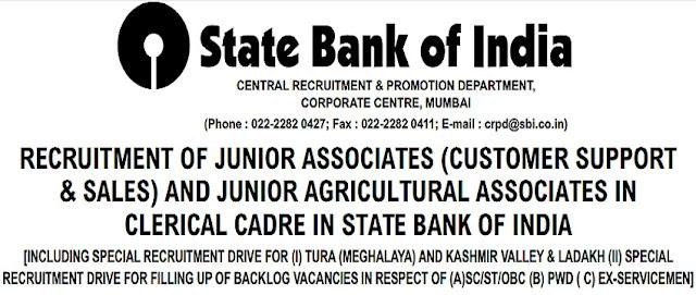 SBI,Clerk Posts,Junior Associate,Junior Agricultural Associate