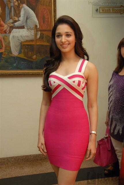 Cute Tamanna Photos In Pink Hot Dress