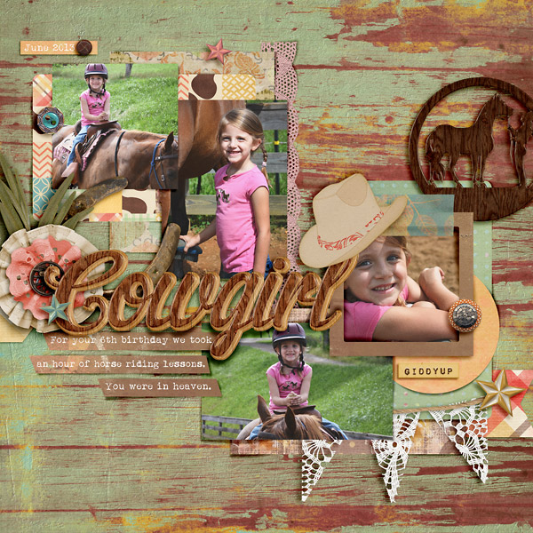 Scrapbook Page with Cowgirl
