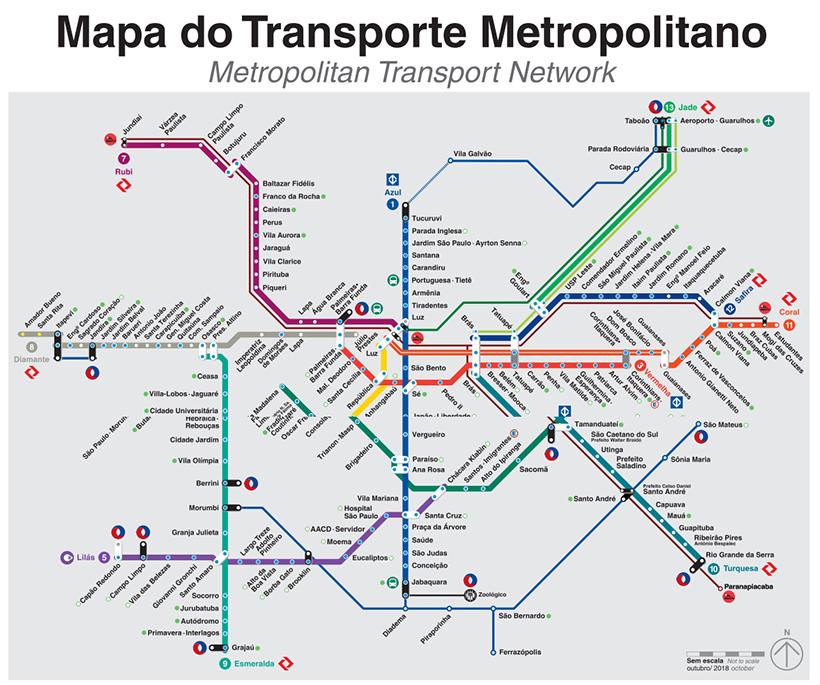 Mapa das linhas de trem da CPTM em São Paulo - Trem para Guarulhos, São Paulo: como funciona