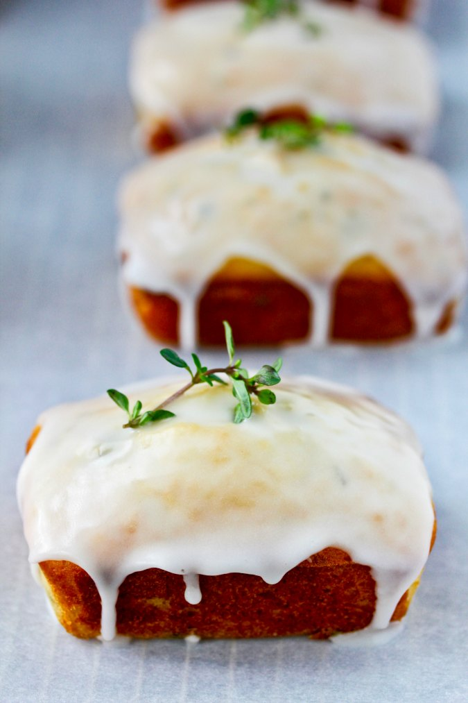 Lemon, Ricotta, & Thyme Mini Loaves with garnish