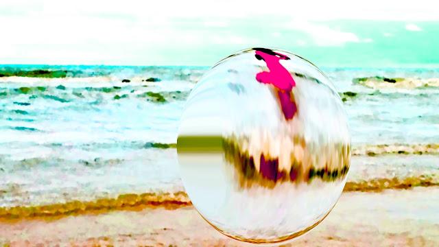 Mulher, mar, movimento, bolha, água