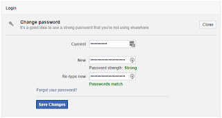 Changing facebook password