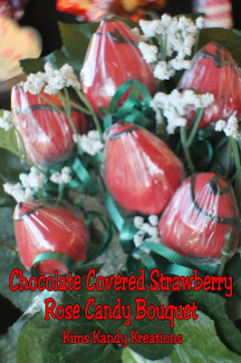 Give someone you love a special treat with these chocolate covered strawberries in a rose candy bouquet.  They will be sure to love the yummy roses this Valentine's day. #chocolatecoveredstrawberries #valentineroses #candybouquet #diypartymomblog