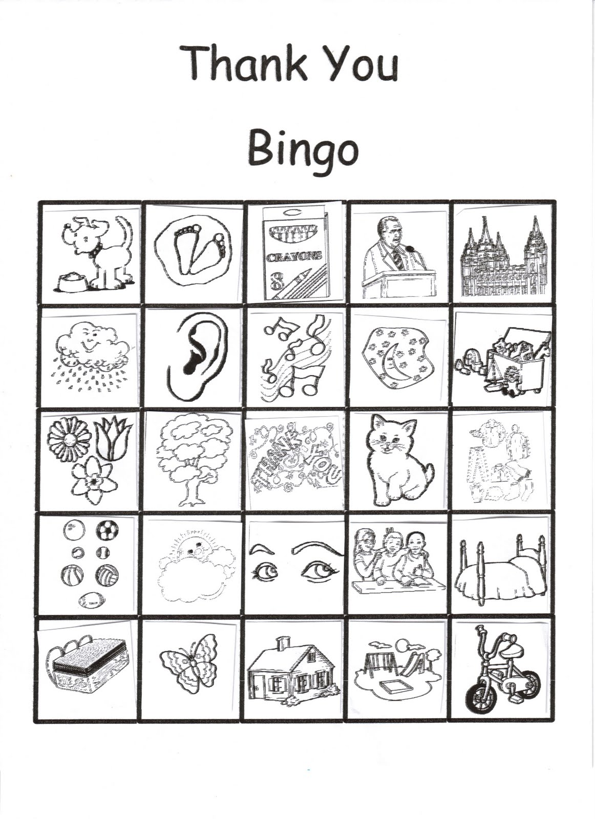 RobbyGurl's Creations: Thank You Bingo