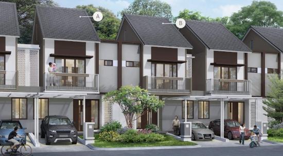tampak depan rumah minimalis ukuran 7x15 meter 5 kamar tidur 2 lantai