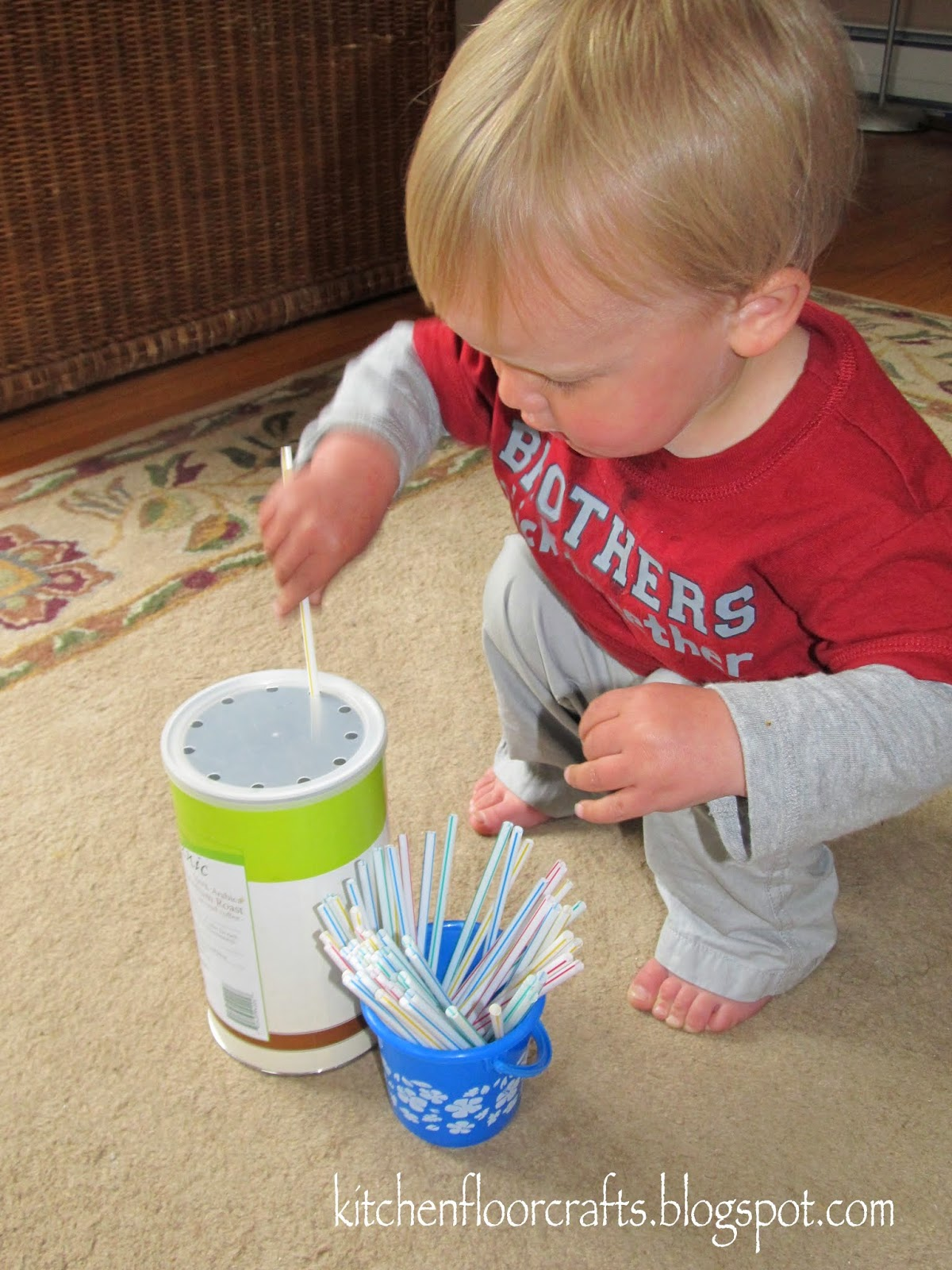 Kitchen Floor Crafts Simple Straw Drop For Toddlers
