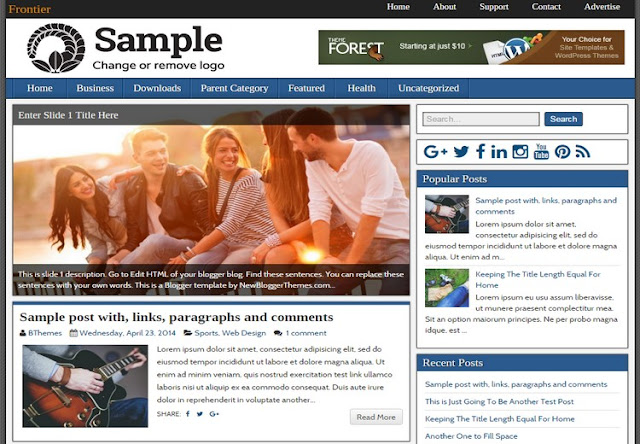 Frontier-blogger-template-free-download