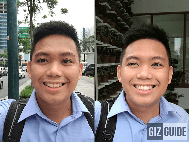 Daylight selfie, normal vs beautify level 3 mode