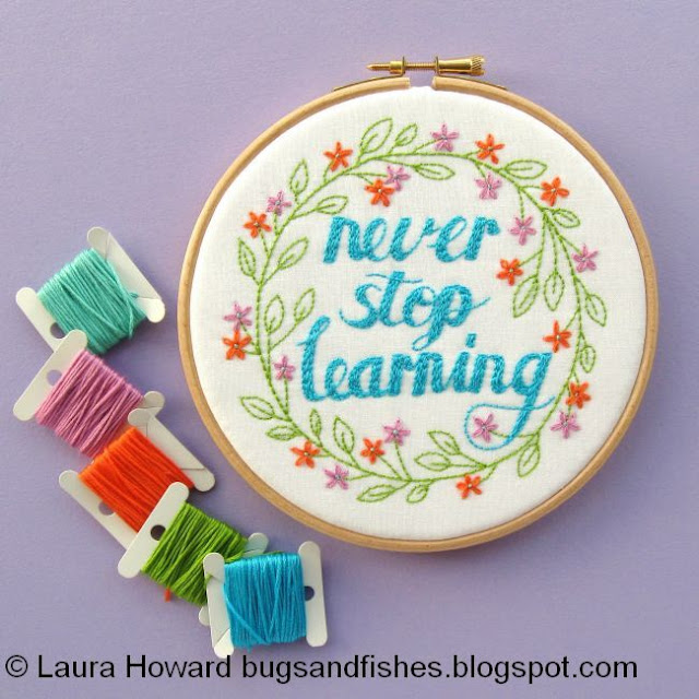 Never Stop Learning embroidery pattern