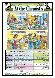 مذكرة الاستاذ علي الهاروني في منهج تايم فور انجلش للصف الرابع الابتدائي الترم الثاني 2020