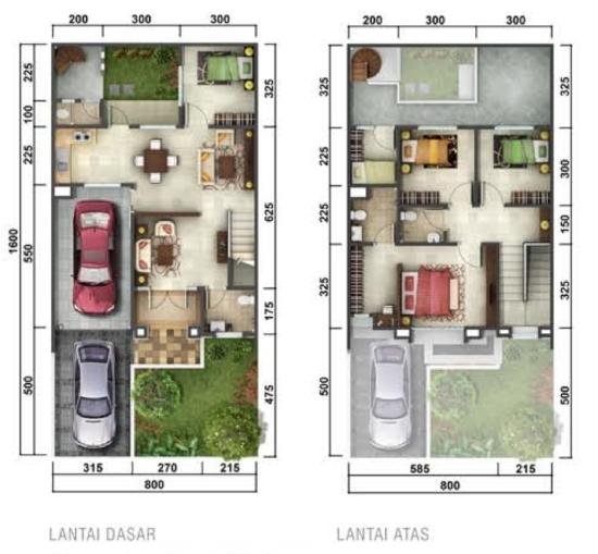 Jasa Desain Kamar Tidur Di Makassar: LINGKAR WARNA: Denah Rumah Minimalis Ukuran 8x16 Meter 5