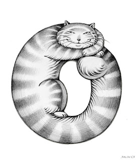 Буква о в виде нарисованного кота