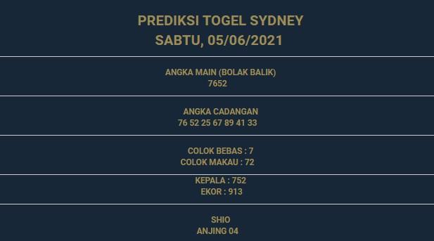 1 - PREDIKSI SIDNEY 05 JUNI 2021