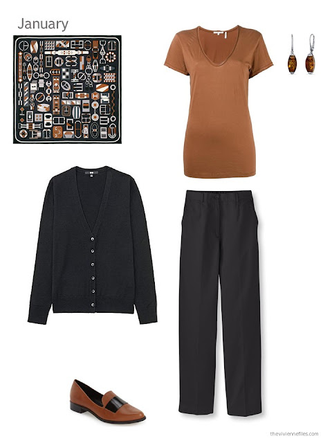 The first outfit in a capsule wardrobe in black and brown