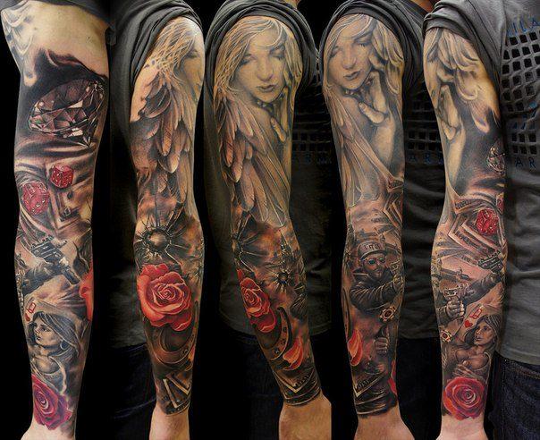 vemos tatuaje de un ángel de la guarda, es un tatuaje realista en tonos grises