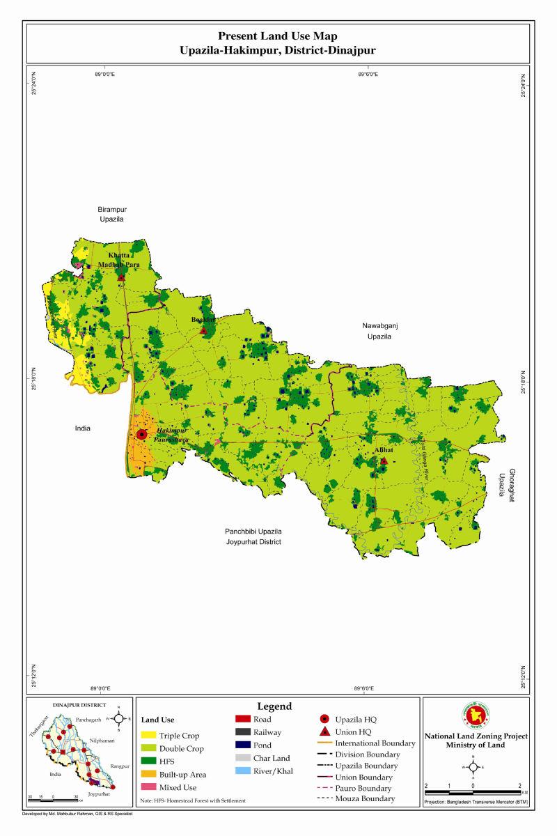 Hakimpur Upazila Mouza Map Dinajpur District Bangladesh