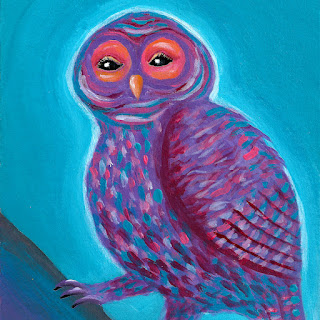 Purple fantasy owl acrylic painting