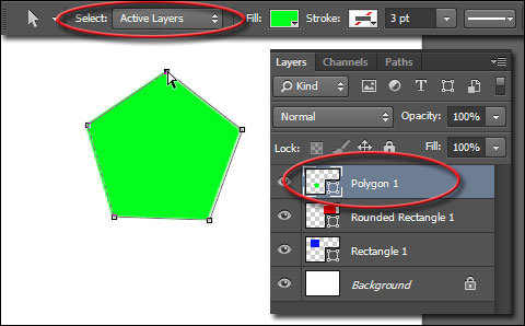 Select anchor point in Photoshop CC