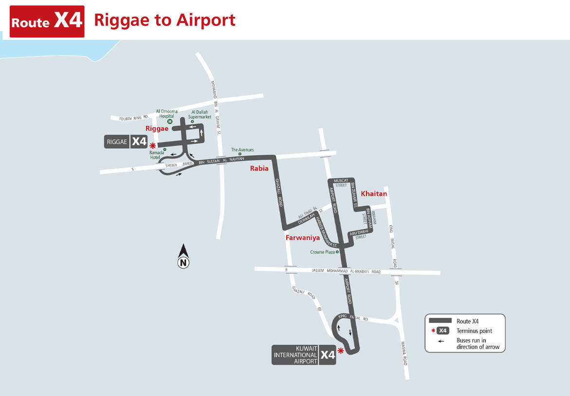 Kuwait City Bus Route: Kuwait City Bus Route X4 (Riggae to Airport)