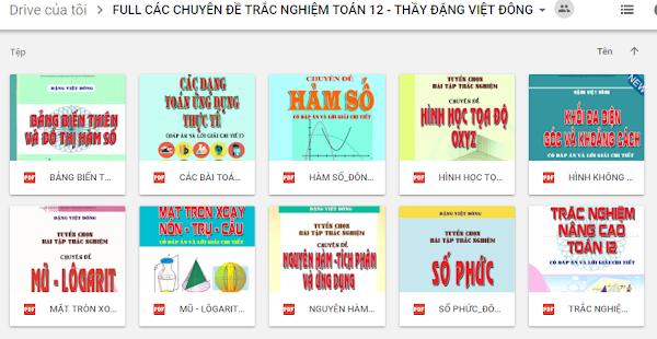 Đặng Việt Đông 10 Cuốn Sách Các Chuyên Đề Trắc Nghiệm Toán 12