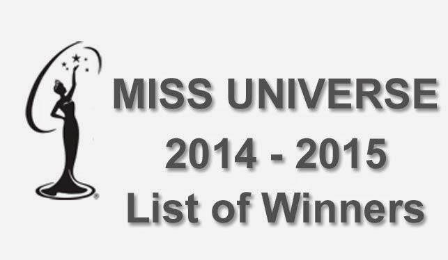Miss Universe 2014-2015 List of Winners