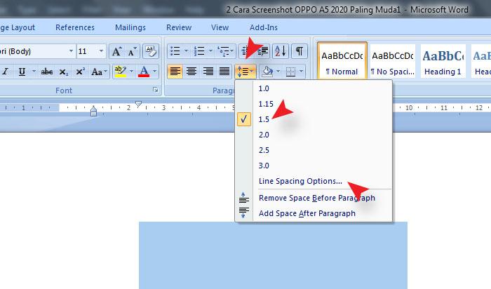 Cara Mengatur Jarak Spasi Antar Kata Di MS Word