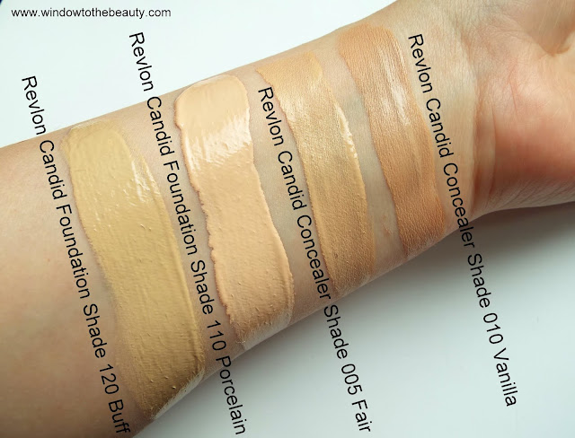 Revlon Candid  110 Porcelain 120 buff swatches