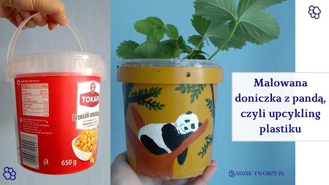 Doniczka ręcznie malowana panda upcykling plastiku - Adzik tworzy