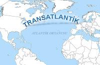 Harita üzerinde transatlantik yazısı