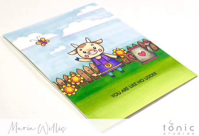 #cardbomb, #mariawillis, #tonicstudios, #tonicstudiosusa, #nuvo, #tonicstudiosgardenparty, #nuvodreamdrops, #nuvoembellishmentmousse, #stamps, #ink, #paper, #handmade, #handmadecards, #art, #create, #craft, #color, #watercolor, #cow, #flower,