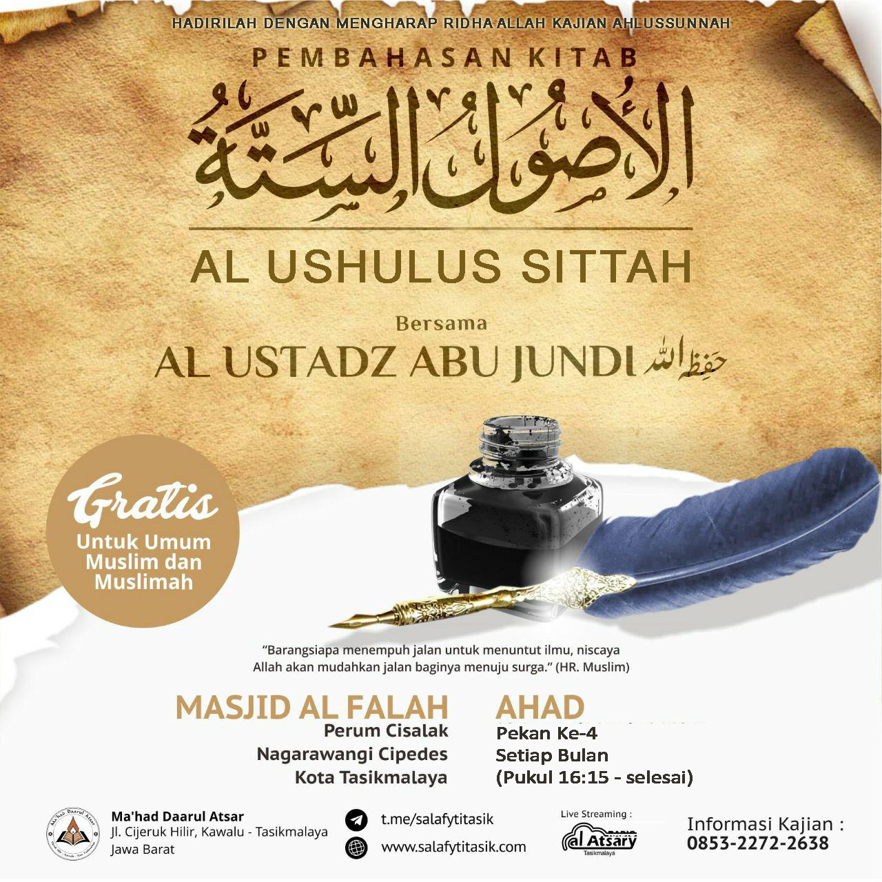 [AUDIO] Kajian Kitab Al Ushulus Sittah - Al Ustadz Abu Jundi
