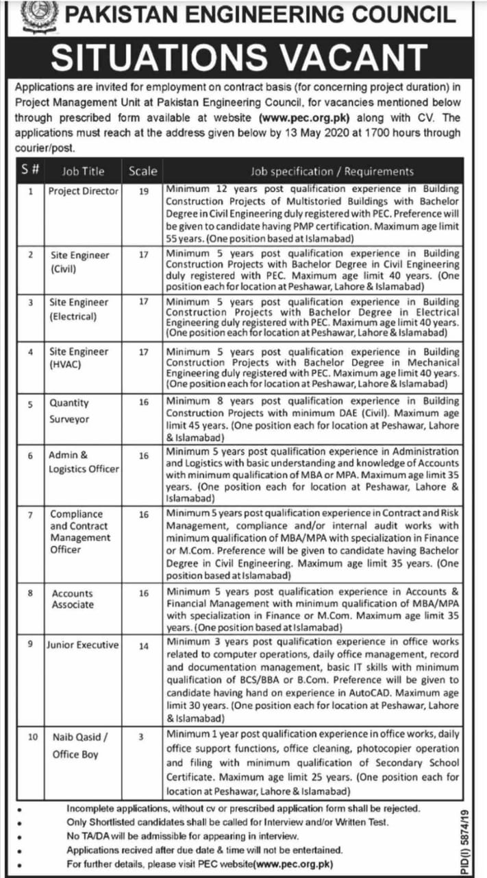 Pakistan Engineering Council Jobs 2020 PEC