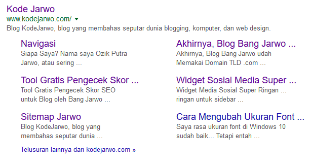 Cara Mudah Bang Jarwo Dapat Sitelink dari Google