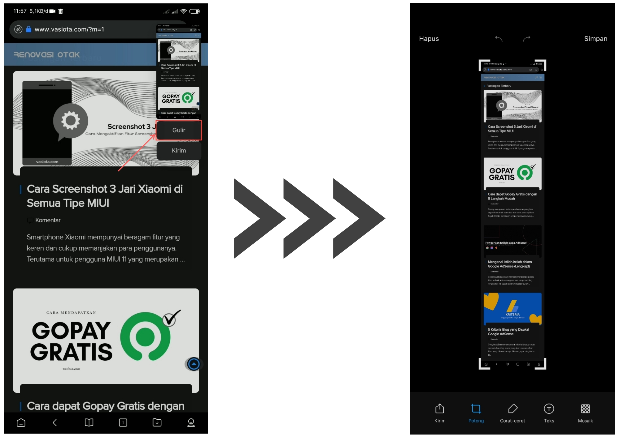 Cara Screenshot Panjang di HP Xiaomi