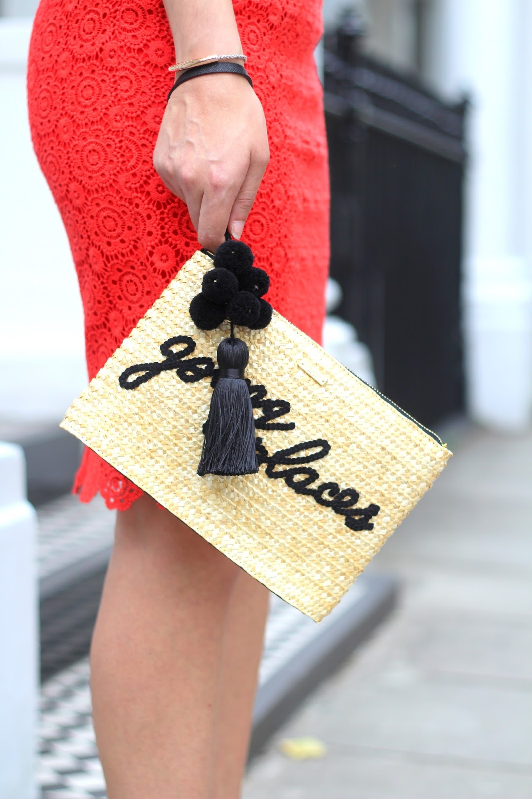 going places kate spade clutch