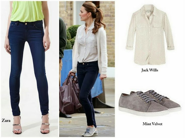 Catherine,Duchess of Cambridge: Jack Wills Blouse & Zara Jeans and Mint Velvet Shoes