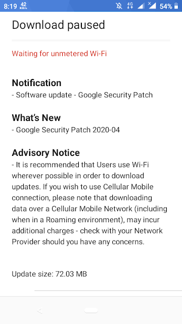 Nokia 1 receiving April 2020 Android Security Patch