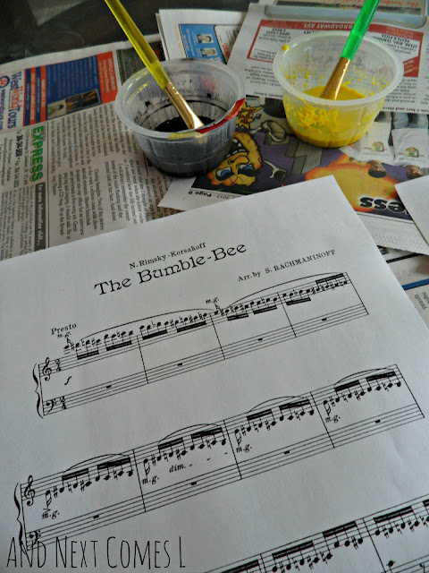 Flight of the Bumblebee sheet music craft for kids