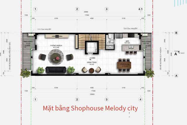Mặt bằng dự kiến khu shophouse Melody City tại Liên Chiểu, Đà Nẵng